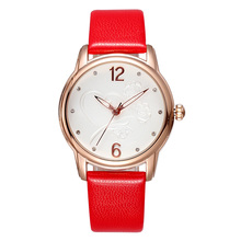 SKONE Brand Rose Gold Case Women Dress Watches Red Genuine Leather Fashion Lady Quartz Wristwatch Diamonds Watches Reloj Mujer