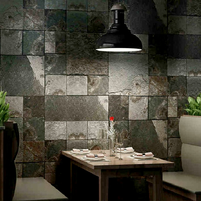 Home decor 3d effect wall tile textured roll vinyl faux Decorative wall tiles for living room