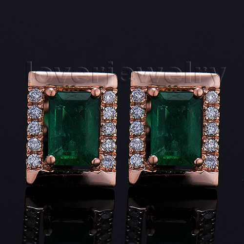 The New 2014 Emerald Cut 4x6mm Solid 18Kt Rose Gold Natural Diamond Emerald Earrings WE053<br><br>Aliexpress