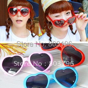 Free Shipping 5PCS/lot New Fashion Lolita Heart Shape Sunglasses Glasses retro cute funny love frame