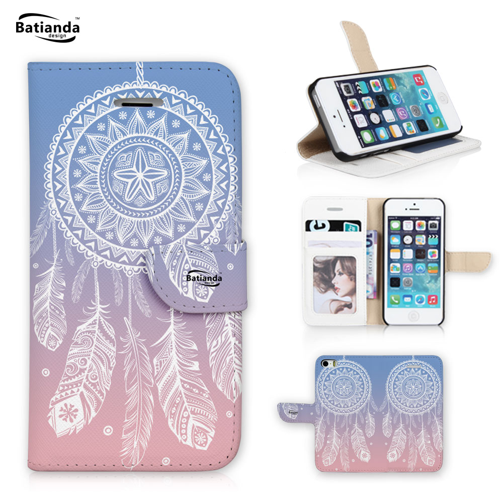 Batianda Case For Apple iphone 6 plus Wallet Stand PU Leather Phone Case For iPhone 6s plus Dream Catcher Print Shell(China (Mainland))