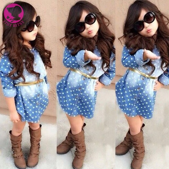 2016 Korean Style Fashion New Baby Kids Girl Childrens Long Sleeve Lapel Denim Buttoned Shirt Dress Dot Dress With Belt <br><br>Aliexpress