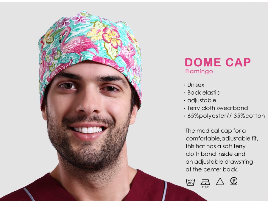 Wholesale Flamingo Pattern Printing Dome Cap Scrub Hats Women Nurse ...