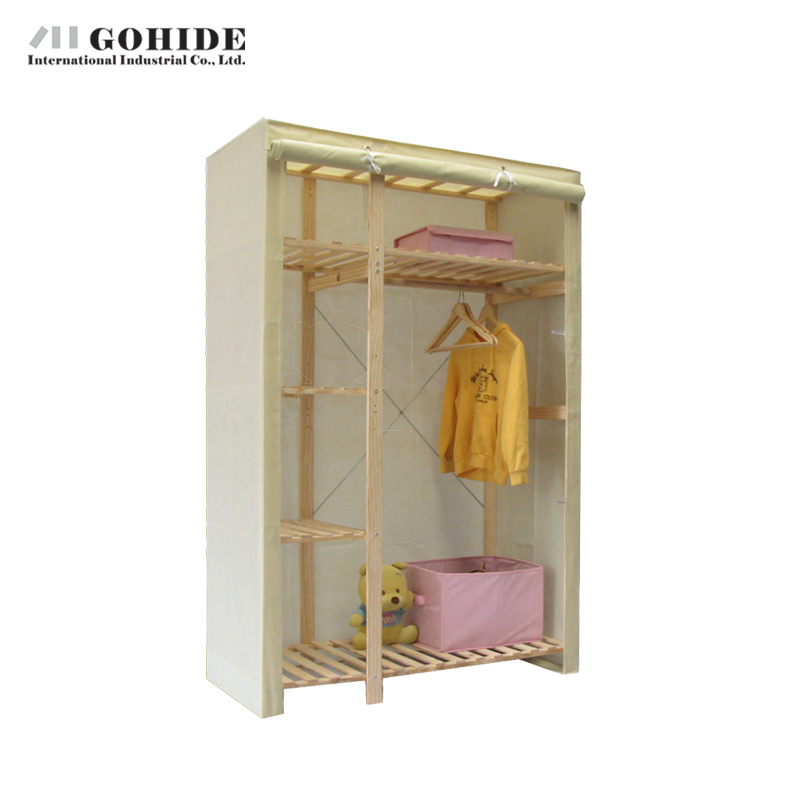 Gohide 132 X 53 X 175cm Pine Simple Wardrobe Cloth Wardrobe Storage NO.753n Non-Woven Fabric Closet Bedroom Furniture Closet(China (Mainland))