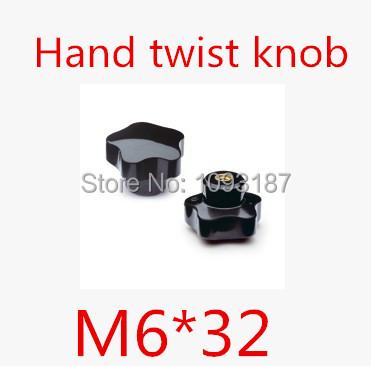 Гаджет  20pcs/lot High Quality M6*32 Plastic Hand twist knob /plastic hand screw None Мебель