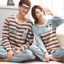 Free Shipping New arrive 100% Cotton Length Sleeve Button Striped Couples Gray Color Homewear Sets(China (Mainland))