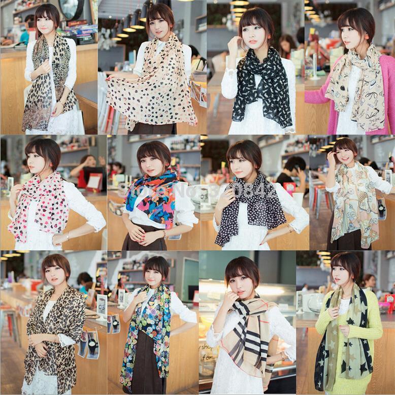 Women scarves pattern chiffon winter scarf women Leopard dot cat Printing shawls for elegent ladies 15 styles bufandas(China (Mainland))