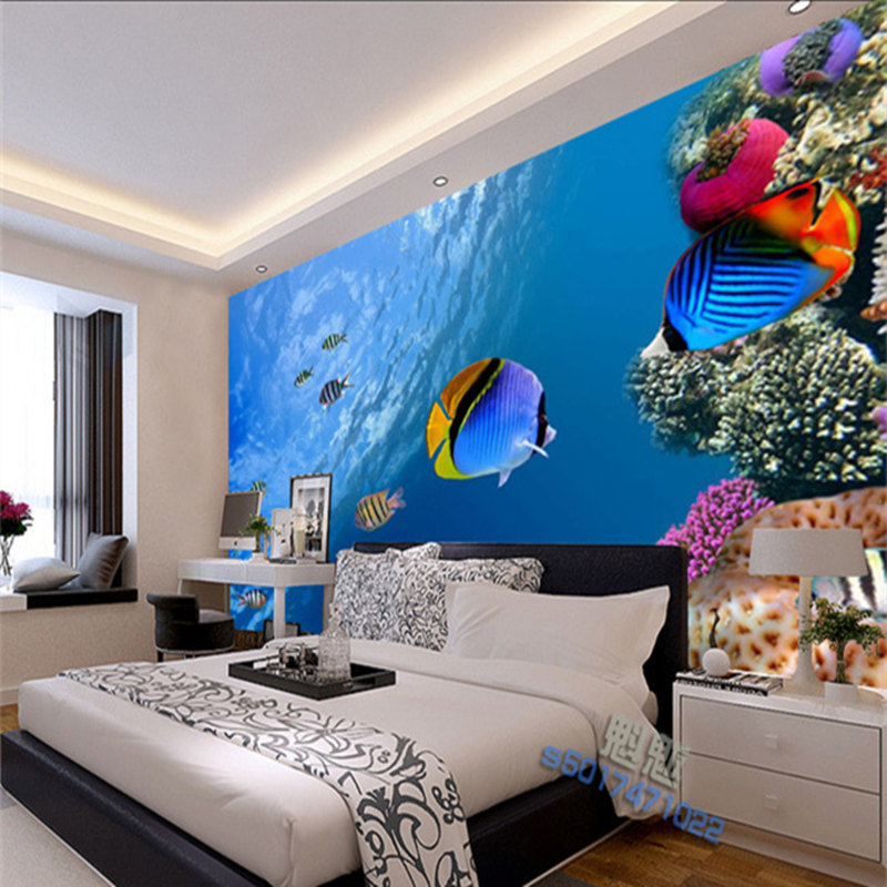 3D underwater world wallpaper wallpaper mural couch TV background wall drawing seamless wall stickers 3D Mural Wallpaper(China (Mainland))