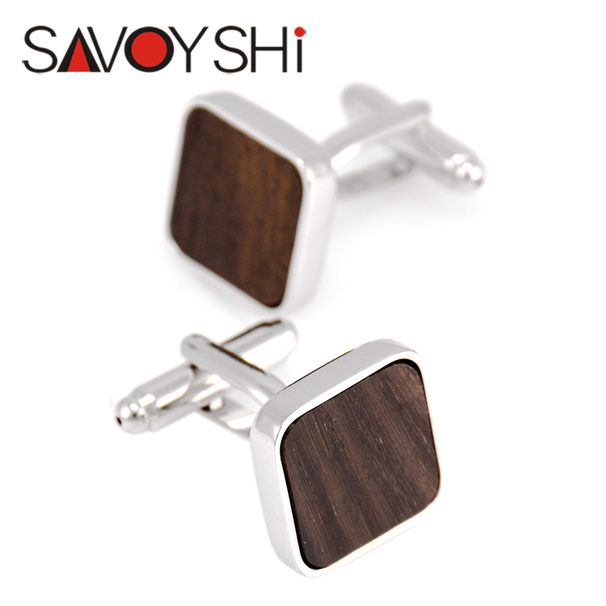 Low-key Luxury Wood Cufflinks SAVOYSHI Brand Jewelry High Quality Square Brown Black Mashup Fashion Cuff links Business Gift(China (Mainland))