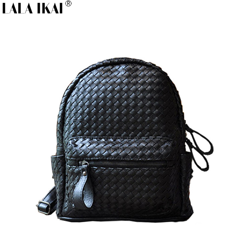 New Fashion Ladies Backpack Black School Bag for Youth Student Female Causal Mochilas Women Leather Backpack Knitting BWE0140<br><br>Aliexpress