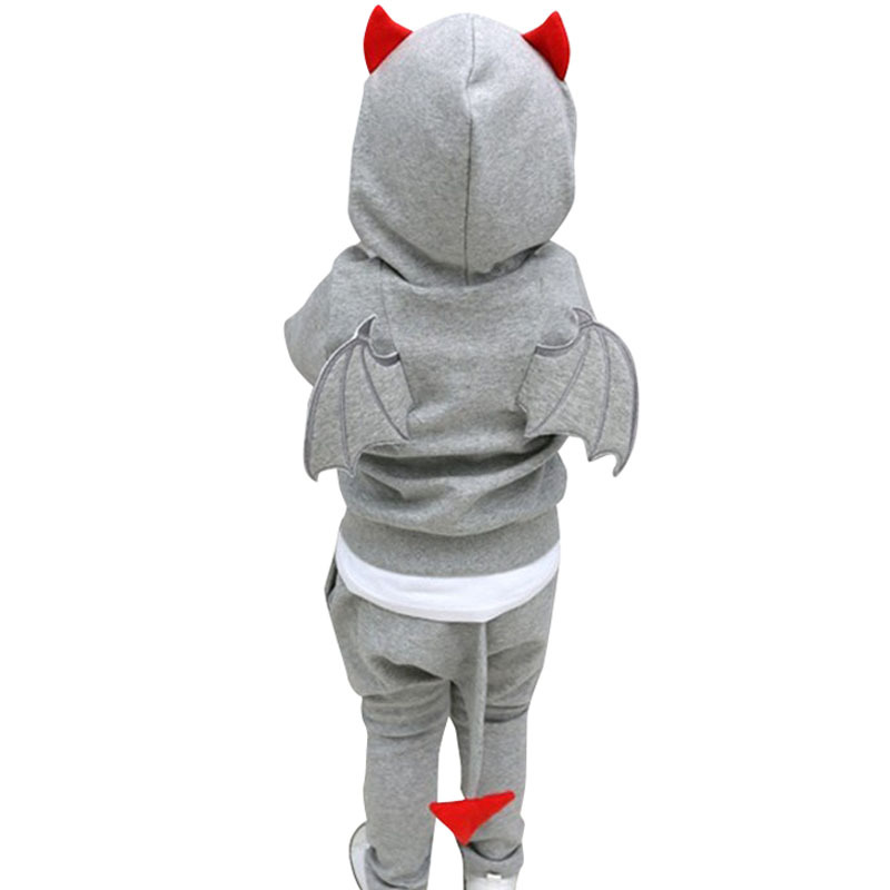 2015 New Autumn boys clothes Casual Long Sleeve Cartoon little devil Hooded hoodies + pants boys clothing sets 2Pcs set 2 Colors(China (Mainland))