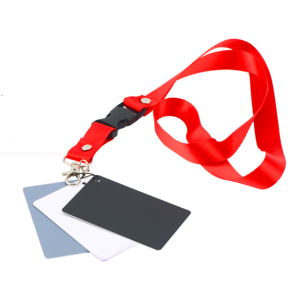 Hot selling 3 in 1 Pocket-Size Digital Camera 18% White Black Grey Balance Cards with Neck Strap for Digital Photography Newest