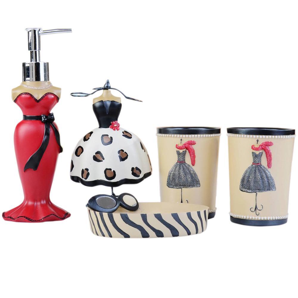 5pcs Bathroom Sets Vintage Lotion Dispenser Toothbrush Holder Bath Accessories Set Resin Wash