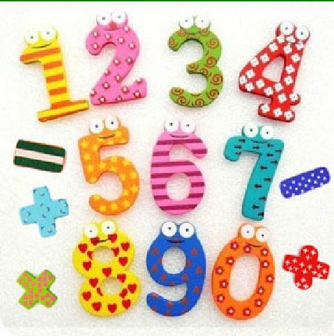 20 Set/Lot Cute Set of 10 Number 5 Mathematical Symbol Wooden Fridge Magnets Toy Big 5.5*3.5cm Free Shipping(China (Mainland))