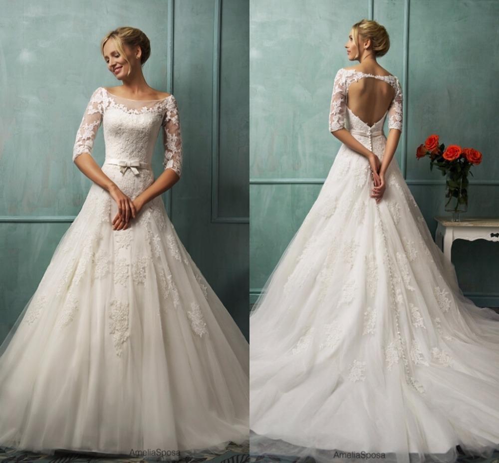 Buy half sleeve a line backless romantic for Half sleeve wedding dress