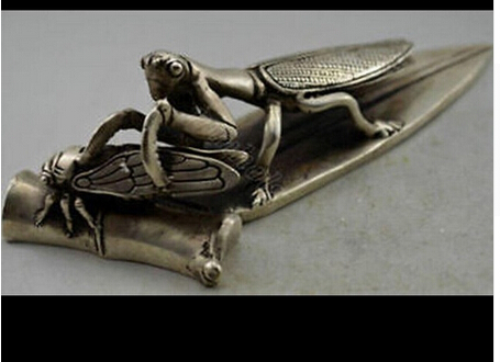 Copper Brass CHINESE crafts decor ation Asian Collectible Decorated Handwork Tibet Silver Carve Mantis Catch Cicada(China (Mainland))