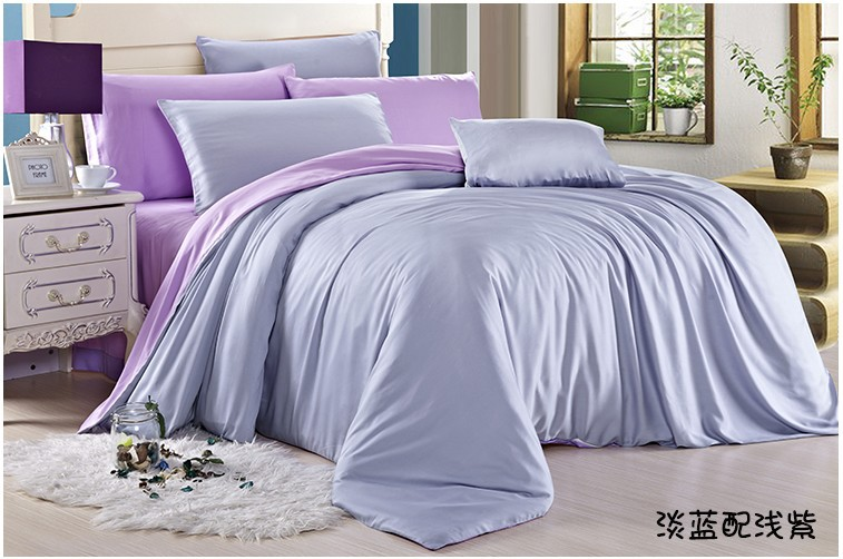 buy solid light blue purple bedding set. Black Bedroom Furniture Sets. Home Design Ideas