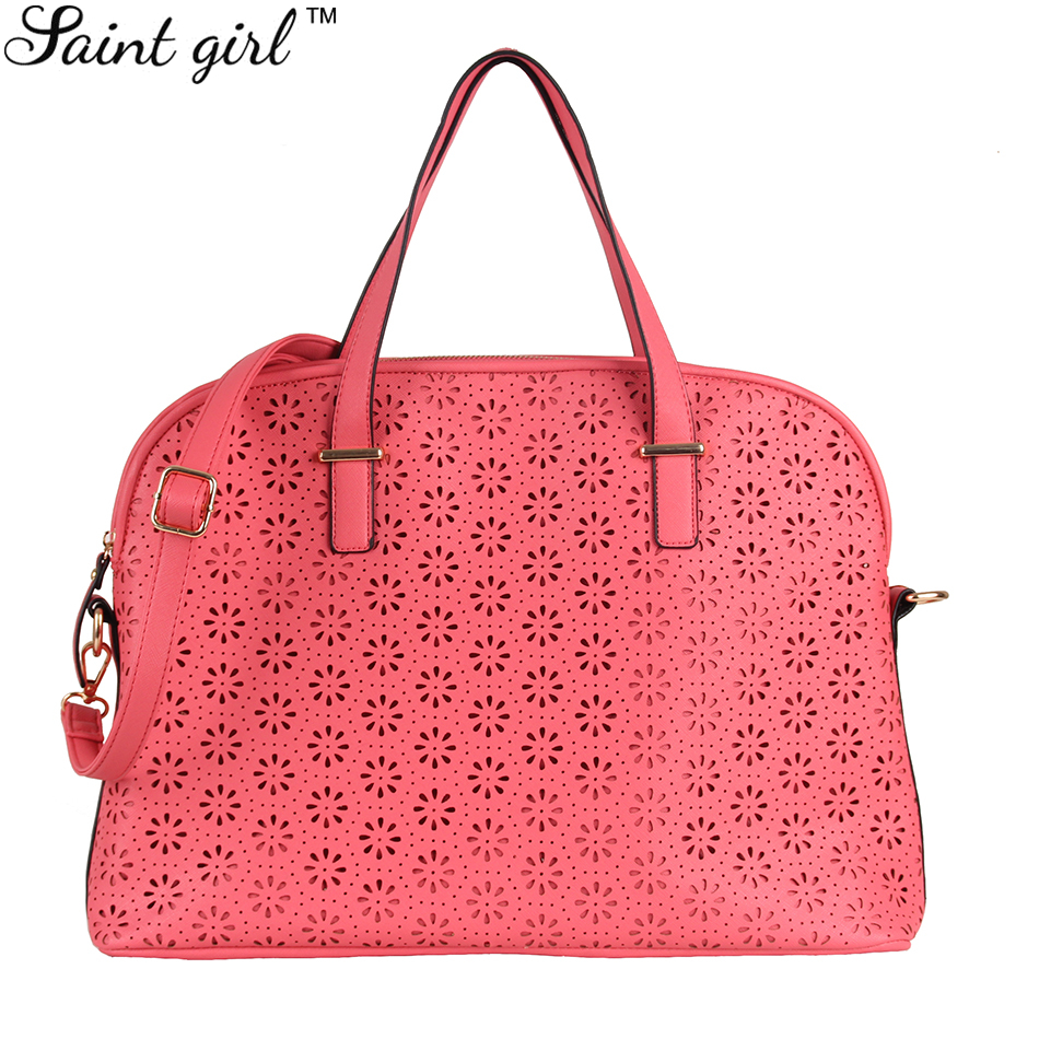 Saint Girl Women Computer Bag New Fashion 2015 Solid Red Casual Totes Zipper Crossbody Bags SNS075