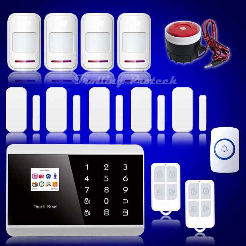 Upgraded DIY Dual Net Touch Keypad TFT Color Display GSM & PSTN Home Security Alarm System SG-218(China (Mainland))