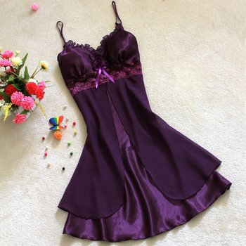 sexy faux silk chiffon lace spaghetti nightgown sleepwear 1069