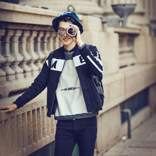 Original design autumn and winter thickening letter print denim baseball collar jacket outerwear e18-p175(China (Mainland))