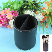 Free Shipping New Cosmetic Makeup Brush Round Pen Holder Tool Black PU Leather Cup Container