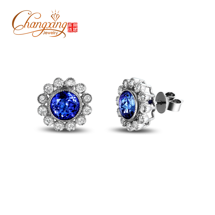 Здесь можно купить  Real 14K Gold 2.48ct Violetish Blue Tanzanite Full Cut Diamond Flower Earrings Studs Real 14K Gold 2.48ct Violetish Blue Tanzanite Full Cut Diamond Flower Earrings Studs Ювелирные изделия и часы