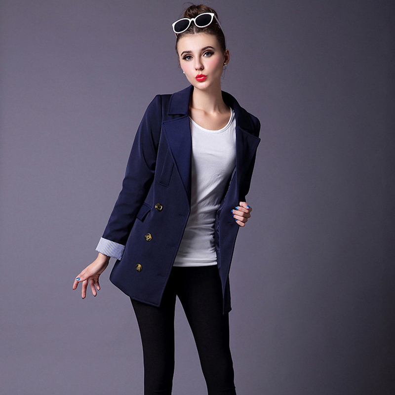 Ellacey 2016 Autumn Winter Blazer Women Casual Double Breasted Outwear Ladies Feminino Long Sleeve Jacket Chaquetas Mujer - Store store