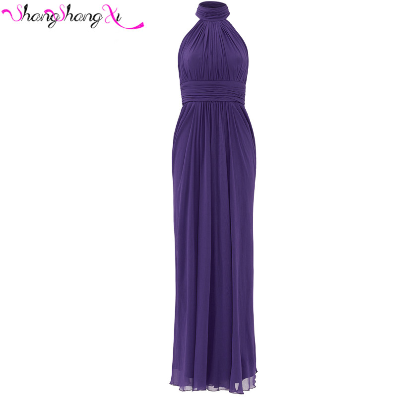 Elegant women purple prom party dress 2016 sexy halter for Purple summer dresses for weddings