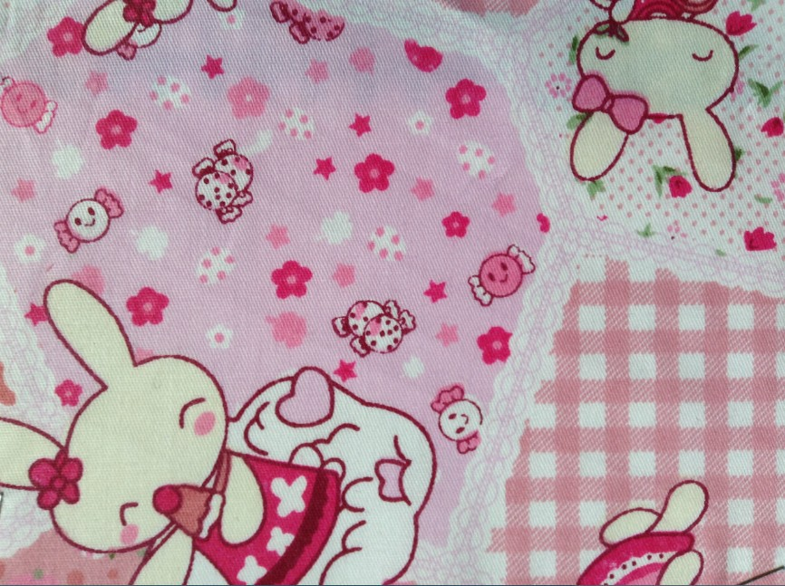 Free shipping fashion 100 cotton rabbit printed colorful for Fabric for children s clothes