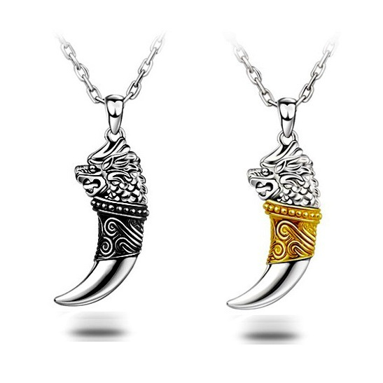 Cool men jewelry metal wolf tooth suspension 925 sterling silver thai silver Dragon pendant for jewelry making hip hop pendant(China (Mainland))
