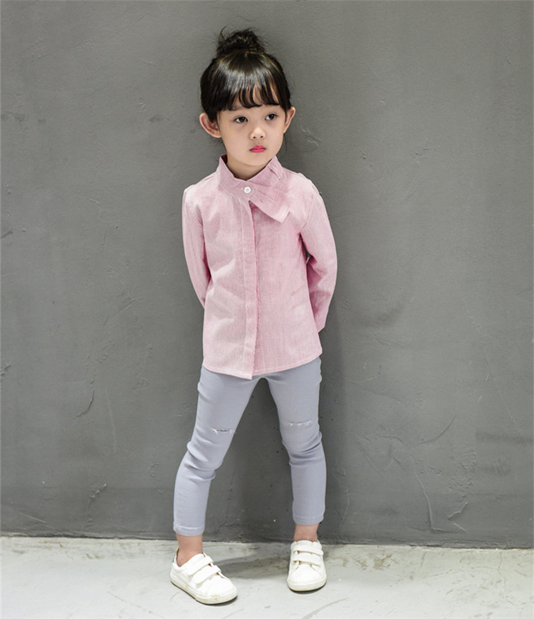 Children's wear long sleeved shirt girl female baby autumn cotton velvet doll without plaid shirt shirt collar A504