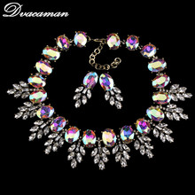 2016 Luxury Brand Crystal Leaves Choker Necklaces Pendants Fashion Big Chunky Opal Statement Necklace Women Jewelry Sets 8661(China (Mainland))