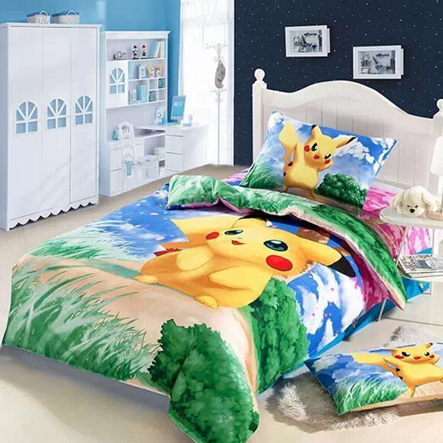 Kids Bedroom Furniture For Boys Anime Bedroom Decor Older Boys Bedroom Wallpaper Bedroom Design Ideas Red: 3D Pikachu Bed Kids Baby Girls Boys Bedding Set Cartoon
