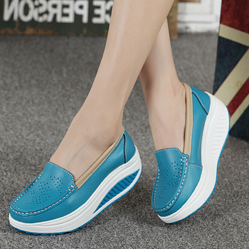 Summer genuine leather women's shoes nurse swing work single shoes wedges platform shoes