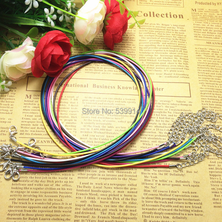 20pcs/Lot Waxed Cord Lobster Clasp Cuerda Chains Necklace Parts Berloque Corda Necklaces Rope Accessories For Jewelry DIY(China (Mainland))