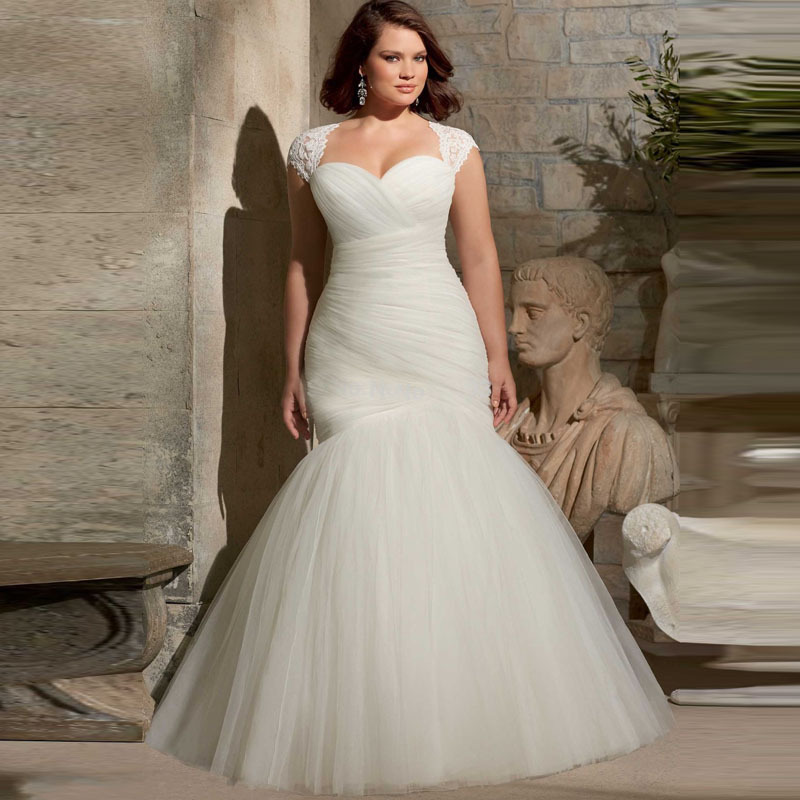 Buy cheap pleated bridal gown with lace for Plus size lace wedding dresses cheap