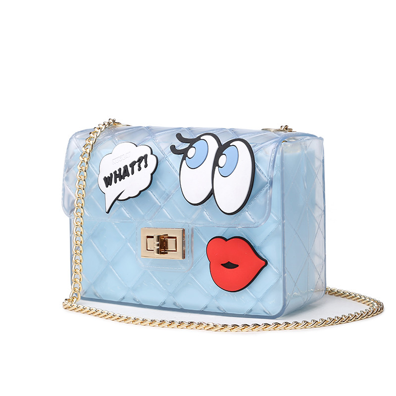 2016 Geometry PVC Jelly Bag Women Candy Paste Big Eye Chain Bag Shoulder Messenger Bags For Ladies Small Bag Famous Brand(China (Mainland))