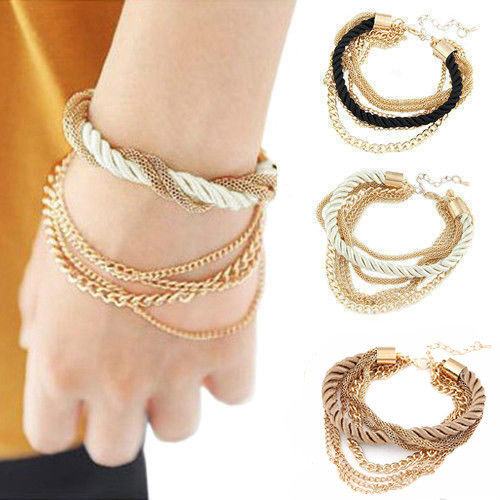 2016 New Gorgeous Multilayer Woven Fabric Bracelet with Gold Chains Free Shipping(China (Mainland))