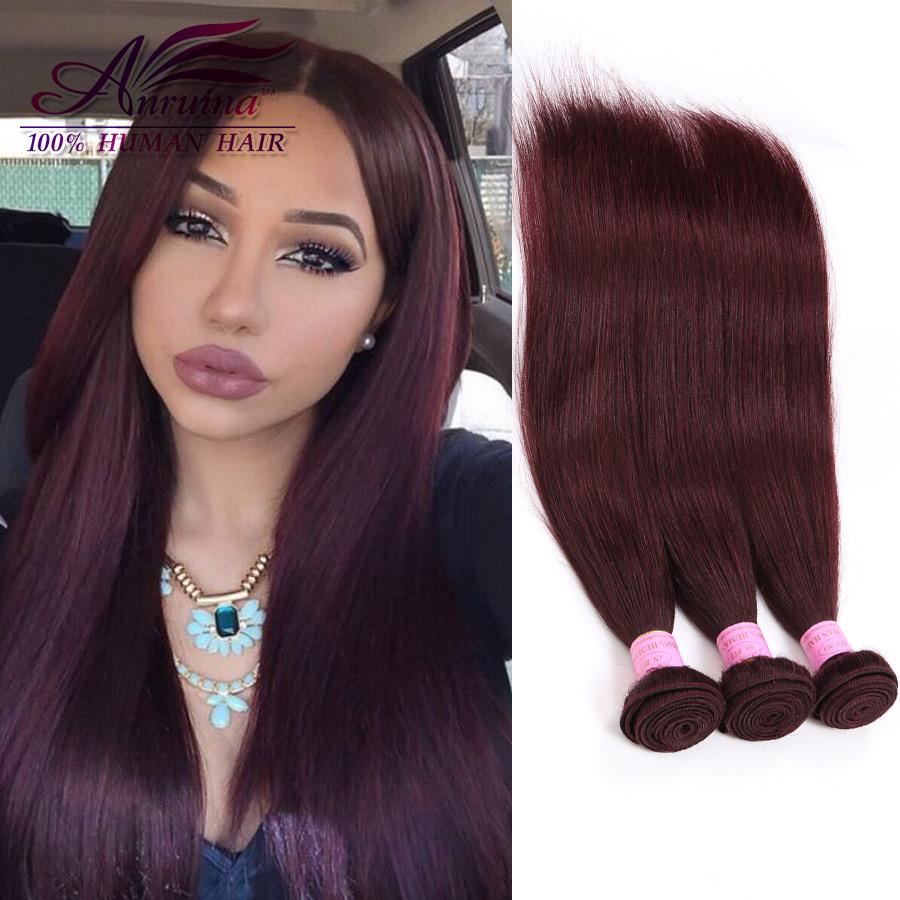 Nice Wine Red Brazilian Virgin Hair Weave Bundles #99J Brazilian Straight Human Hair Extensions 3pcs/lot Burgundy Virgin Hair(China (Mainland))