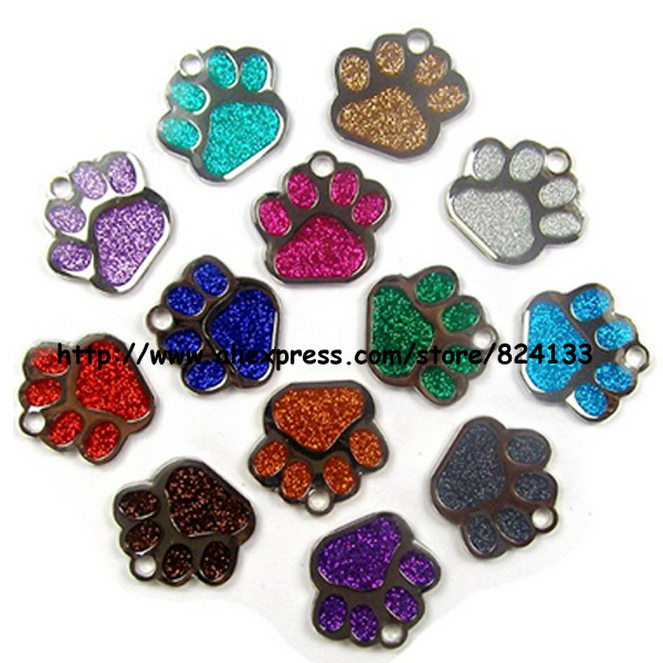 New 2015 Dog Paw Tag,Custom 27mm Glitter Dog Pet Tags,Mixed Colors,Free Shipping(China (Mainland))
