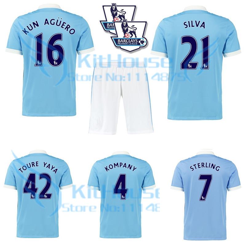 Man city kit 15 16 Premier League soccer jerseys+short AGUERO TOURE YAYA home football shirt SILVA STERLING blue uniforms set(China (Mainland))