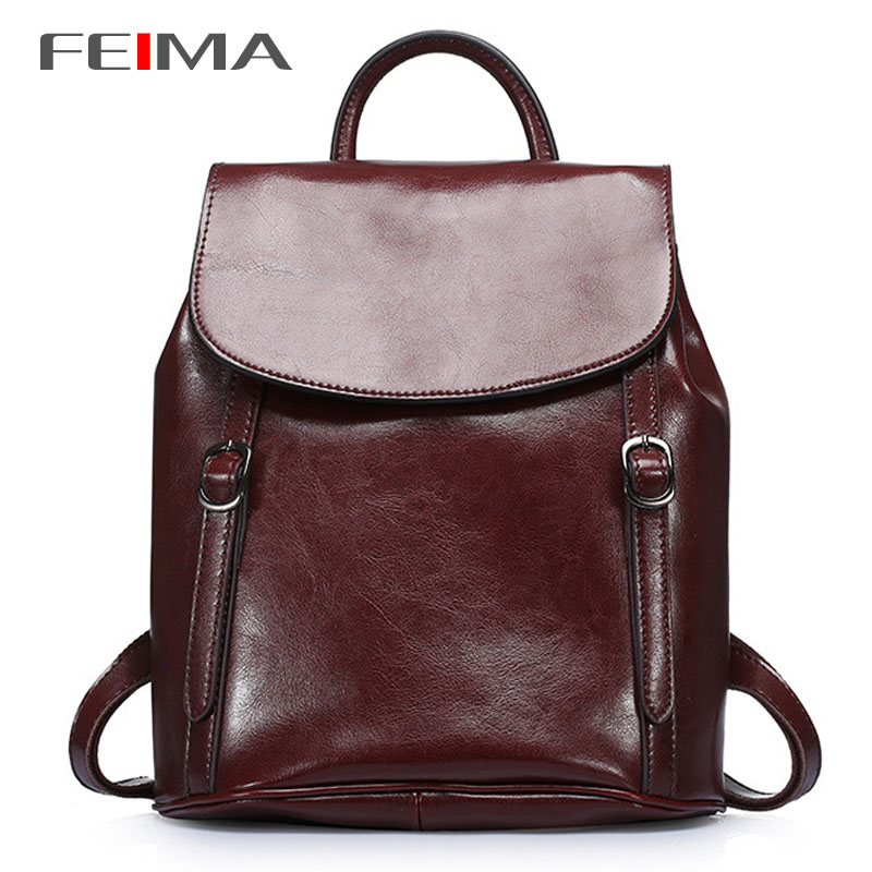 FEIMA! Vintage Women Backpack Genuine Leather Good Quality School Bags For Teenage Girls Top-handle Backpacks Simple Cover Open<br><br>Aliexpress