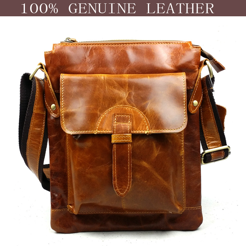 2015 New fashion brand brown 100% genuine leather bag vintage handbags men messenger bags casual shoulder sac de marque