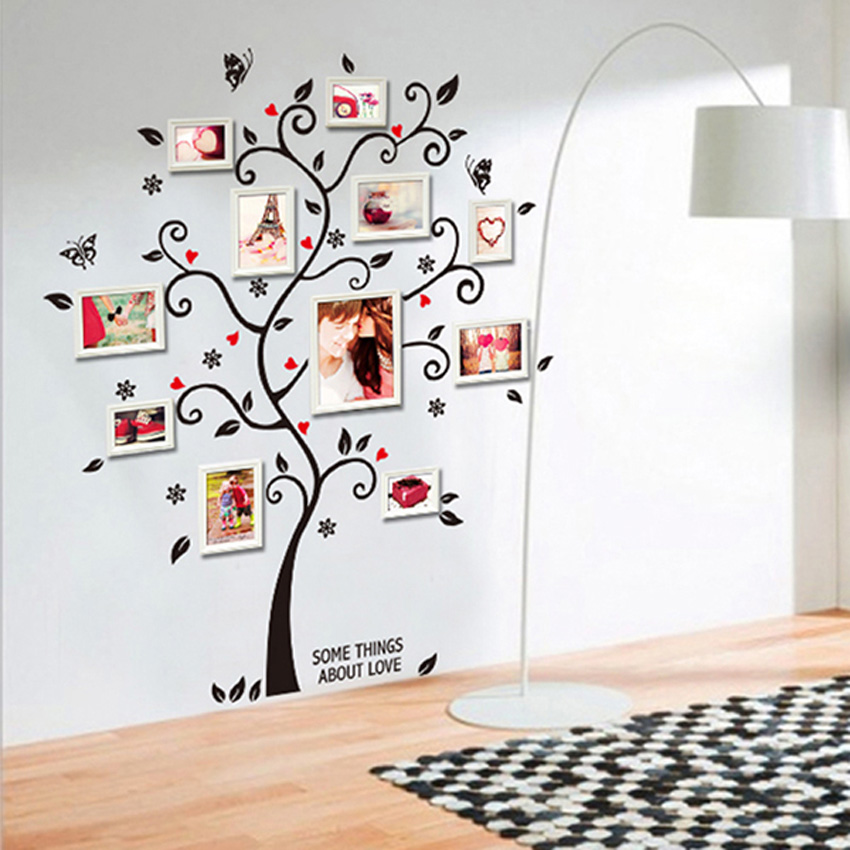 Family Photo Frame Tree Butterfly Flower Heart Mural Wall Sticker Home Decor Room Decals(China (Mainland))