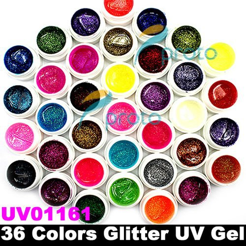 Ship USA - 36 Colors Glitter Powder UV Gel Nail Art Tips Extension Decorations SKU:USC0002
