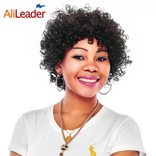 Buy Alileader Short Synthetic Wigs Black Women Color 1B 100% Kanekalon Wigs Small Jerry Curly African American Wigs Bangs for $15.99 in AliExpress store