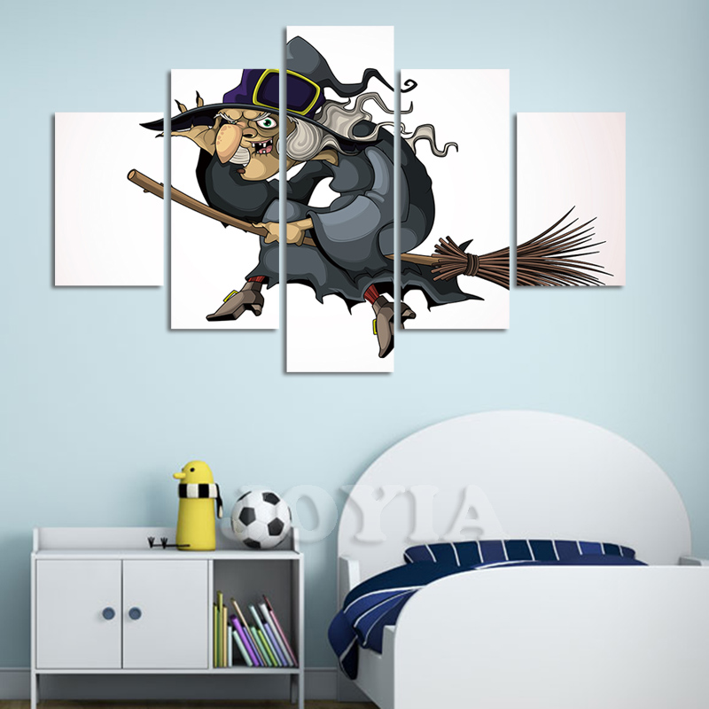 5 Pieces Canvas Wall Art Cartoon Character Painting HD Printed Witch Riding a Broom Picture Poster For Kids Room Decor No Frame(China (Mainland))