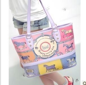 2013 fashion women PU leather handbag print one shoulder bag large shopping women's tote cute girl's