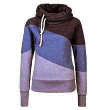 New Women's Clothing 2016The Han Edition Cultivate One's Morality Show Thin Hit Color Splicing Hooded Fleece